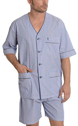Pigiama due pezzi corto a righe da uomo, abbigliamento da notte classico per signori - popeline, 100% cotone - taglia m - blu pallido, rosa e grigio
