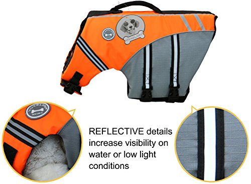 VIVAGLORY New Sports Style Ripstop Dog Life Jacket with Superior Buoyancy & Rescue Handle 3