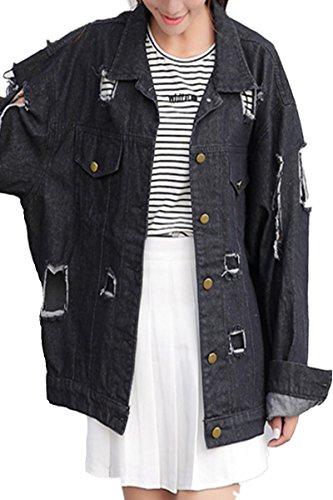 IWFREE Damen Jeansjacke Mantel Denim Jacke Mädchen Frauen Herbst Beiläufig Stilvoll Distressed Gewaschene Lose Jeans Loch Jacket Oberbekleidung Coat Outwear Löcher Schwarz