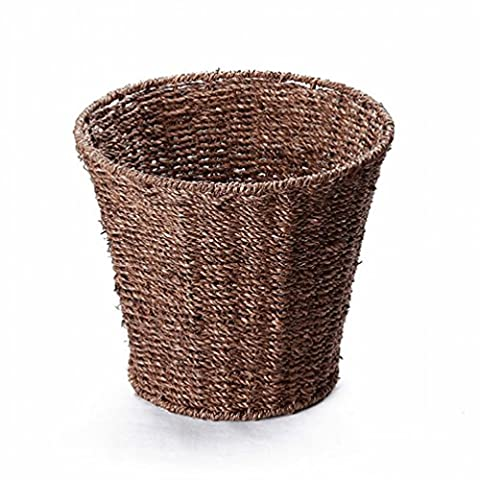Straw round garbage basket environmental protection household trash cans pots collection barrels practical waste