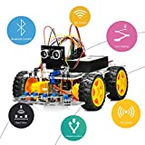 OSOYOO 4WD Robot Car Starter Kit V2.0 for Arduino UNO Smart Project App Simulator Driving Stem Toys Gifts for Kids Teens with Motor Driver Module, Line Tracking, Obstacle, Ultrasonic Sensor