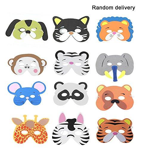 12 Teile/Satz Lustige Eva Kinder Cartoon Tier Masken Dress Up Kostüm Zoo Jungle Party Supplies für Kinder (Muster Zufällig) (Kostüme Up Tier Dress)