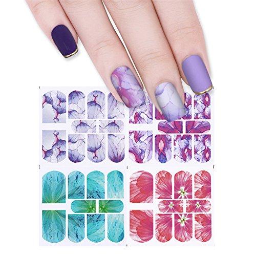 coulorbuttons 2Blatt Halb Transparent Blume Wasser Aufkleber Nail Art Transfer Aufkleber zufällige Muster (Datei 2 Sockel)
