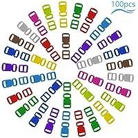 Matogle Cierre de Hebilla de Plástico 30mm Mini Hebillas de Colores para Manualidades Ajustables Hebillas para Mochilas Pequeños Collar de gatos Pulseras Manualidades Escolares 10 Colores 100pcs