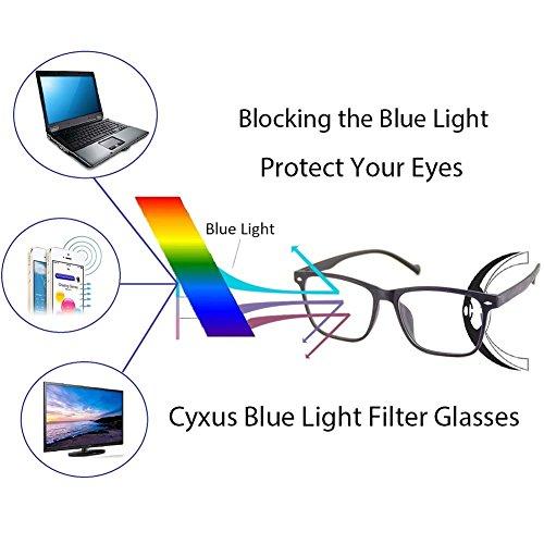 Cyxus TR90 ligero flexible cómodas gafas filtro de luz azul [mejor dormir] anti fatiga de ojos (transparente lente) Marco negro mate de grano de madera
