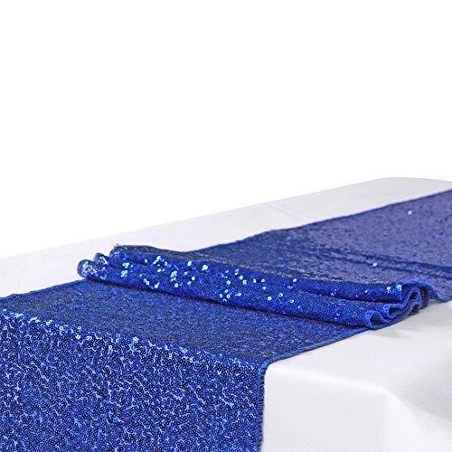 Pailletten-Satin-Tischläufer - elegantes Rechteck Glitter Hochzeit Vintage Bankett Party Bankett hell shinning Schreibtisch Tischdecke Dekor (Royal blue, 12 by 71 Inch)