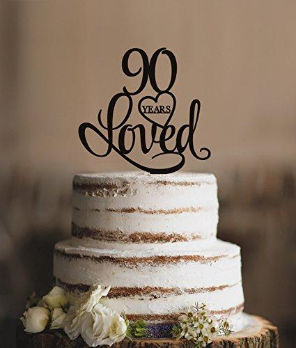 Excellent Qidushop 90 Years Loved Cake Topper Classy 90Th Birthday Cake Personalised Birthday Cards Veneteletsinfo