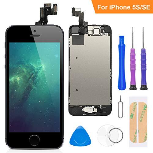 FLYLINKTECH Für iPhone 5s/se Display Schwarz, Ersatz Für LCD Touchscreen Digitizer vormontiert mit Home Button, Hörmuschel, Frontkamera Reparaturset Komplett Ersatz Bildschirm mit Werkzeuge