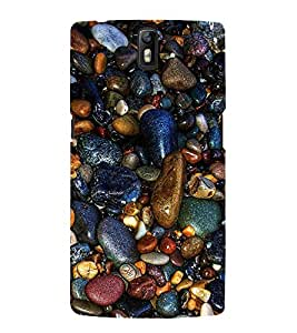 Multicolour Stones 3D Hard Polycarbonate Designer Back Case Cover for OnePlus One :: One Plus 1 :: 1+1