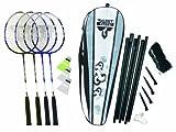 Talbot Torro Fighter Badminton 4 Player Set - Grey/Black/White, 27 Inch