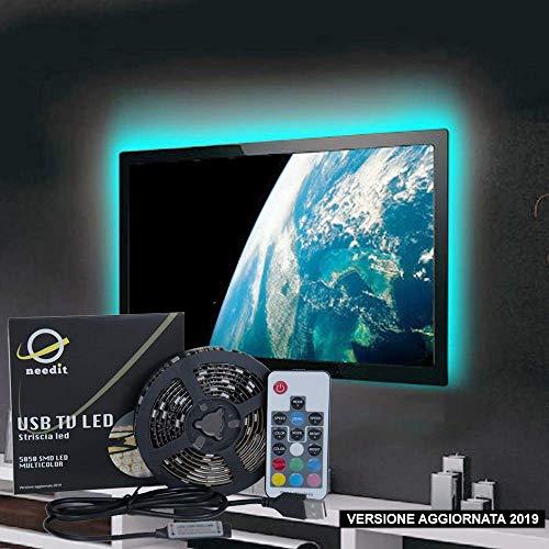 Retroilluminazione LED TV NeedIT, Striscia LED RGB 2m Alimentata USB, Nastro Led Impermeabile Per HDTV e PC 40-60 Pollici, Strisce LED Multicolore Con Telecomando 17 Tasti