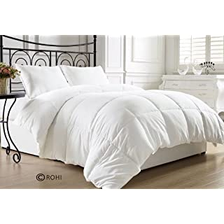 ROHI Microfibre Comforter Duvet Insert White - Hypoallergenic, Plush Siliconized Fiberfil, Box Stitched, Down Alternative Comforter, Protects Against Dust Mites and Allergens (10.5 Tog, Double Microfibre Duvet)