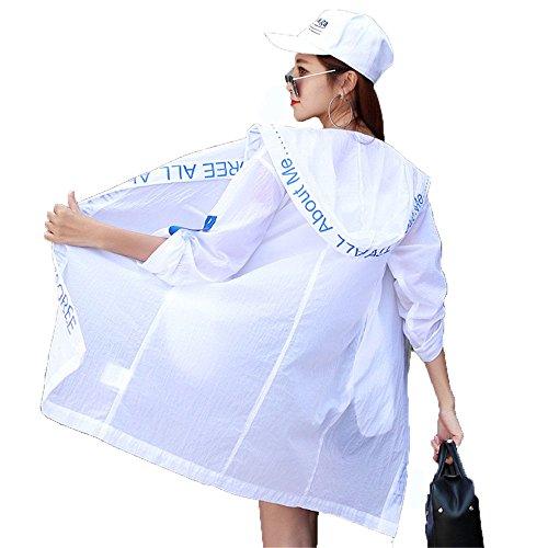 Sonnenschutz-Kleidung Damen-Dünnmantel Schnell Trocknend Sonnenschutz-Kleidung Ein Long-Style Hooded Windbreaker. (Größe : M) (Waten Korb)