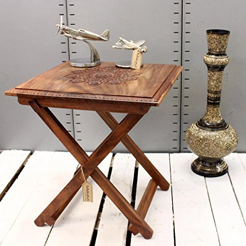 CE Hand Made Items maravi handgefertigt quadratisch Klapptisch Top Sheesham Holz geschnitzt