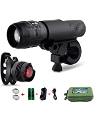 Coomatec LED Fahrradlampe Frontlicht und Rücklicht ,Taschenlampe Set,Inklusive Batterien, 3 Licht-Modi, 200lm, Wasserdicht