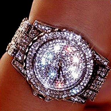 Schöne Uhren, Damen Paar Kleideruhr Modeuhr Armbanduhr Armband-Uhr Einzigartige kreative Uhr Simulierter Diamant Uhr Quartz Strass Mehrfarbig Edelstahl ( Farbe : Silber , Geschlecht : Für Damen )