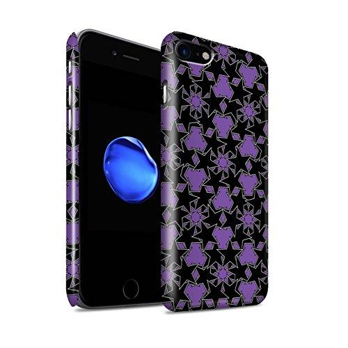 STUFF4 Glanz Snap-On Hülle / Case für Apple iPhone 8 / Zufälliges Gelb Muster / Zerstreute Sterne Kollektion Violettes Muster