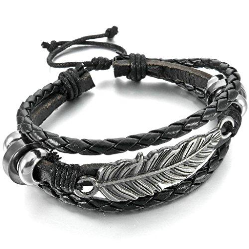 men-womens-alloy-leather-bracelet-bangle-cuff-angel-wing-feather-surfer-wrap-adjustable-silver-black
