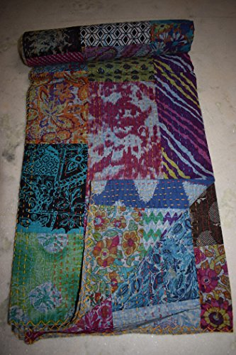 Tribal asiatischen Textilien authentische indische Vintage Kantha Made in Indien Kantha Quilt Großhandel von Jaipur Hand Block Print Patchwork Baby Quilt Muster Quilt -