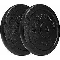 2x 15kg pesas de hierro fundido 100% / Negro / Orificio de 30 / 31 mm. Uso variable: Mancuerna larga o mancuerna corta / 2x 15kg