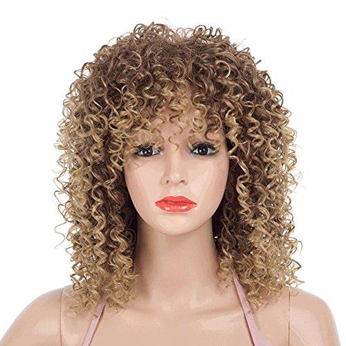 YUNWEI Kleine Haarrolle Damen Europäische und amerikanische Mode Explosion Kopf Gold Locken Ferien Cosplay Chemische Hochtemperaturfaser Kunstseide 44 cm * 219 g