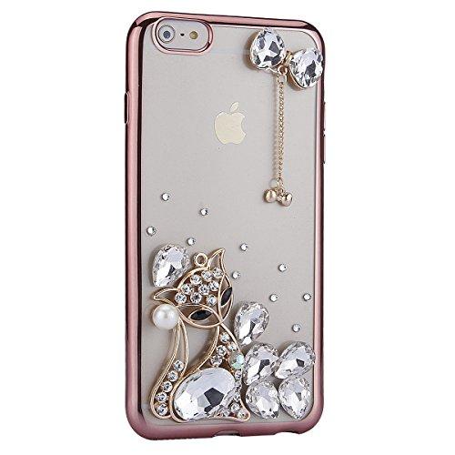 Coque Housse Etui pour iPhone 6 Plus/6S Plus, iPhone 6S Plus Coque en Silcone avec Bling Diamant d'or Etui, iPhone 6 Plus Placage Coque 3D Gel Souple Etui Housse, iPhone 6 Plus/6S Plus Silicone Golden Or Rose-renard