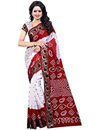 FabTexo Cotton Silk Maroon & White Bandhej Women's Bandhani Saree (Panetar Bandhani Saree) (Summer Wear Saree)