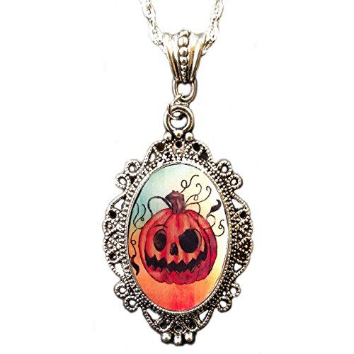 ck O Laterne Kürbis Kamee-Anhänger Halskette (Halloween Laterne Kürbis)