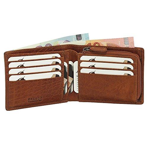 Leder Geldbörse Portemonnaie Geldbeutel Münzfach mit Reißverschluss 12 cm Farbe Cognac -