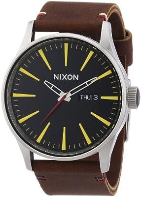 Nixon Sentry Leather Black / Brown A105019-00 - Reloj analógico de cuarzo para hombre, correa de cuero color marrón