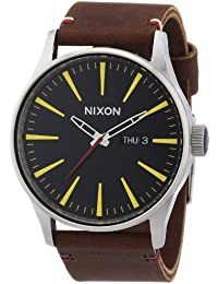 Nixon Herren-Armbanduhr XL Sentry Leather Black / Brown Analog Quarz Leder A105019-00