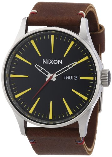 nixon-herren-armbanduhr-xl-sentry-leather-black-brown-analog-quarz-leder-a105019-00