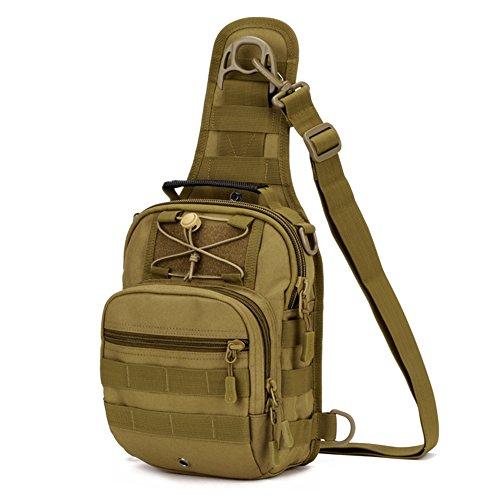BondFree Tactical Brusttasche Sling Rucksack Schulter Taktische Umhängetasche Rucksack Mit Einem Gurt Molle Crossbag Für Wandern Radfahren (Stil1-Braun) -
