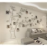 JYSPORT DIY 3D Crystal Acrylic Painting Wall Decoration Large Photo Frame Tree Wall Decals Tree Wall Stickers Room Decor Mural Wall Art (XL, SIlver)