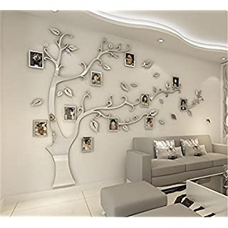 JYSPORT DIY 3D Crystal Acrylic Painting Wall Decoration Large Photo Frame Tree Wall Decals Tree Wall Stickers Room Decor Mural Wall Art (L, SIlver)