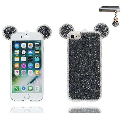 "Hülle iPhone 6 6s Cover 3D Cartoon Maus Ohr, Light Slim Diamonds Bling Bead Transparent iPhone 6 Handyhülle 4.7"", iPhone 6S case 4.7"" Kratzer beständig & Staubstecker Lovely Schwarz"