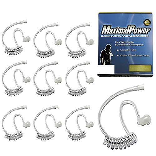 Pack of 10 - Twist On Replacement Acoustic Tube for 2-Way Radio Headsets by MaximalPower