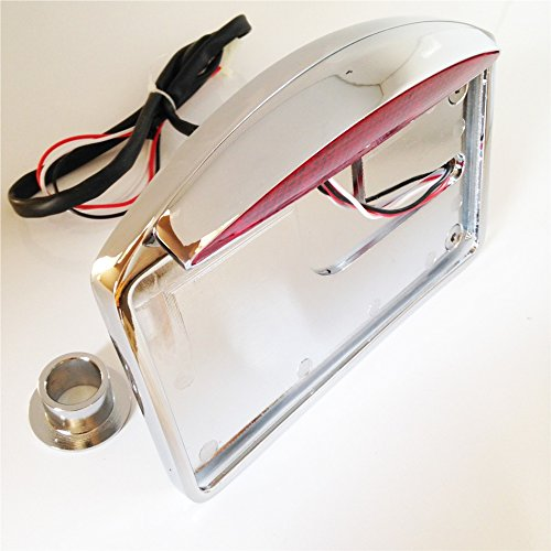 HTT - Soporte cromado para matrícula plana de montaje lateral y con luz LED de freno trasera, eje de 2,54cm, para Harley Davidson Dyna Glide, Fat Bob, Street Bob, XL 883 Hugger Sportster