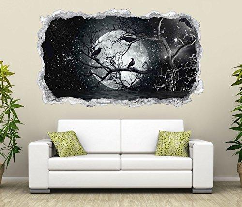 3D Wandtattoo Vollmond Raben Baum Halloween Wand Aufkleber Durchbruch Stein selbstklebend Wandbild Wandsticker 11N772, Wandbild Größe F:ca. 162cmx97cm