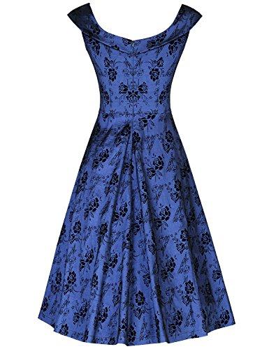 MUXXN Vestito anni '50 Donna Elegante Cerimonia Cocktail Floreale Abito Abiti Vintage Navy blue