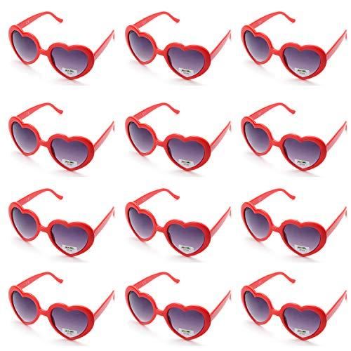 OAONNEA 12 stück Neon Farben Party Sonnenbrillen Set für Kinder Erwachsene Partybrille Herzform Party Favors und Festival (12rot)