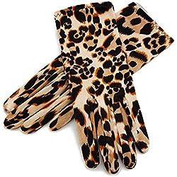 Huasho 4 Estilos Otoño Invierno Señoras Guantes de Terciopelo Dorado Elegantes Guantes para Mujeres Guantes de muñeca Mujer,Leopardo