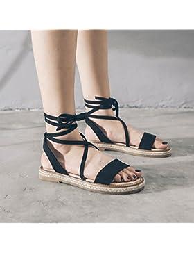 SDKIR-Roma, Femmina sandali estivi college a fondo piatto nero selvaggio sandali di paglia, Retro fascetta incrociata...