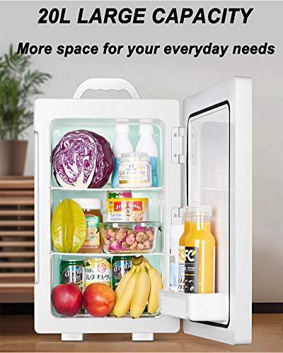 51ajqqDYZTL - JCDZSW Refrigerador de automóvil CNC de Tres núcleos 20L Mini refrigerador pequeño de Doble Uso para el hogar Adecuado para refrigeradores de Alimentos, medicamentos, cosméticos, hogar y Viajes,Plata