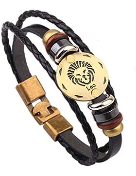 Damen Herren Sternzeichen Armband Vintage Lederarmband Surferarmband Armreif Geflochten Seil Sternbild