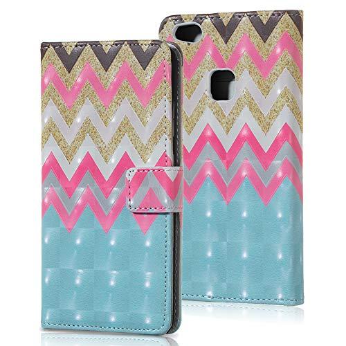Preisvergleich Produktbild WIWJ Schutzhülle für Huawei P10 Lite Handyhülle Lederhülle Flip Wallet Cover [3D geprägte lackierte Ledertasche]Handyhüllen für Huawei P10 Lite Hülle-Farbe Welle