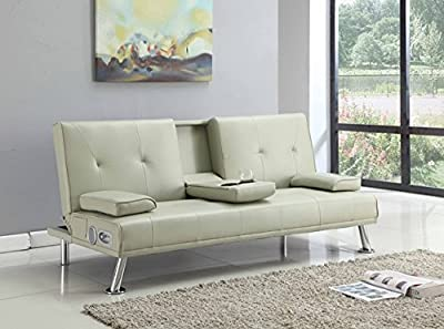 Bluetooth Cinema Sofa Bed with Drink Cup Holder Table Cream Faux Leather - inexpensive UK sofabed shop.