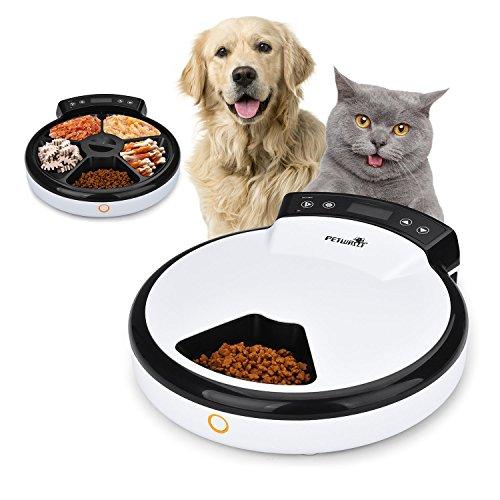 *TOPHGDIY Automatisierte Futterspender, Haustier Futterspender, Futternapf für Hunde und Katzen, 5 Mahlzeiten mit akustischer Benachrichtigung und Timer Funktion*