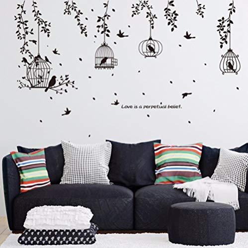 Schwarzer Vogelkäfig und Blätter-Schattenbild-Muster PVC-Wandaufkleber Fernsehhintergrund-Wandaufkleber-dekorativer Speisesaal-Schlafsaal - Modernen Speisesaal Möbel