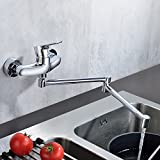 Peppermint Faltende Einhebelmischer Wandarmatur Küchenarmatur Spültischarmatur Spülenarmatur Armatur Wasserhahn für Küche, Messing verchromt